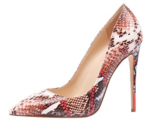 AOOAR Women's High Heel Snakeskin-Print Red D5 Party Pumps 10 M US