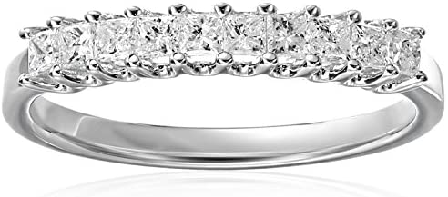 14k White Gold Princess-cut Diamond Bridal Wedding Band Ring (1/2 cttw, H-I, I1-I2) | Real Diamond Wedding Band For Women | Gift Box Included