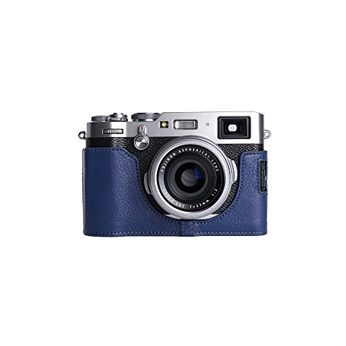 X100F Case, BolinUS Handmade Genuine Real Leather Half Camera Case bag Cover for FUJIFILM X100F Bottom Opening Version -Blue by BolinUS