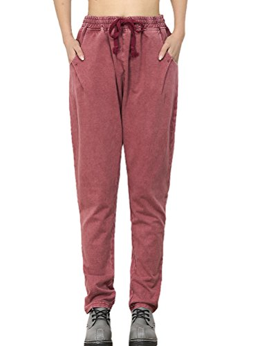 Marilyn Straight Leg Corduroy (Mordenmiss Women's New Arrival Casual Harem Pants Style 2-M-Maroon)