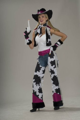 Forum Novelties Women's Glamour Cowgirl Costume, Black/White/Pink, Standard - Cowgirl Outfits Women