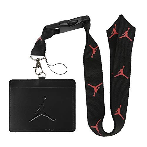 Jordan Black Faux Leather Business ID Badge Card Holder with (Black with Red) Keychain Lanyard