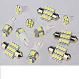 Ialwiyo 11PCS White LED Lights Interior Package for T10 & 31mm Map Dome + License Plate