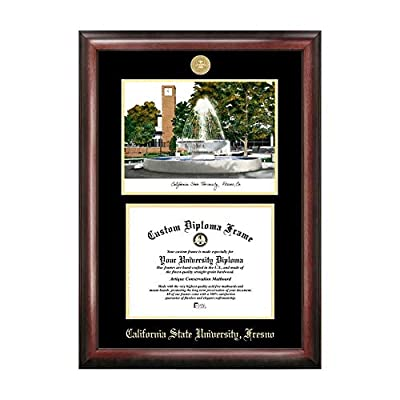 Campus Images Sports Team Logo Design Cal State Fresno Gold Embossed Diploma Frame with Campus Images Lithograph