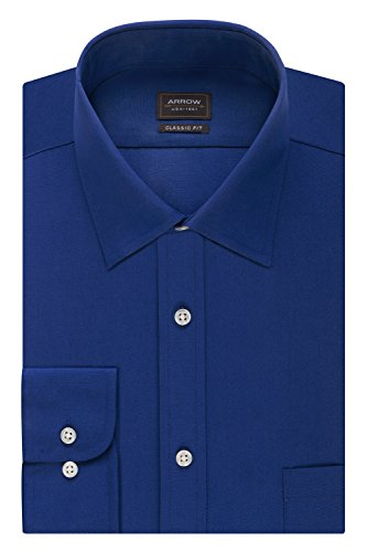 Arrow Men's Poplin Regular Fit Solid Spread Collar Dress Shirt, Blue Ombre, 17-17.5