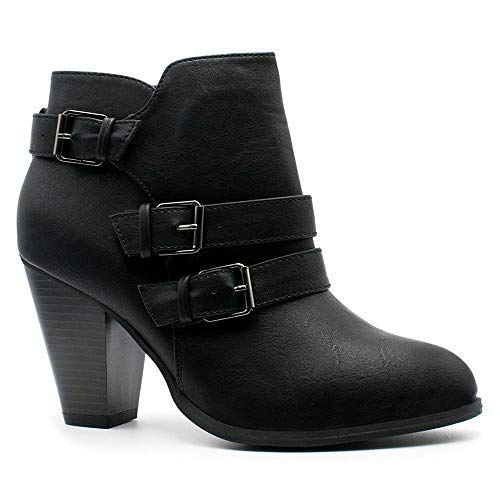 1/2 Inch Block Heel - Women's Fashion Chunky Block Heel Booties Buckle Strap Zipper Ankle Boots CA64 Black 8
