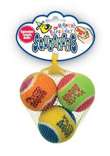 KONG Air Dog Squeakair Birthday Balls Dog Toy, Medium, Colors Vary (3 Balls), My Pet Supplies