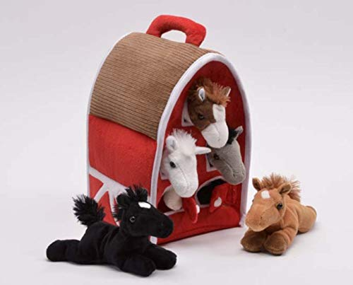 (Plush Horse Barn with Horses - Five (5) Stuffed Animal Horses in Play Carrying Barn)