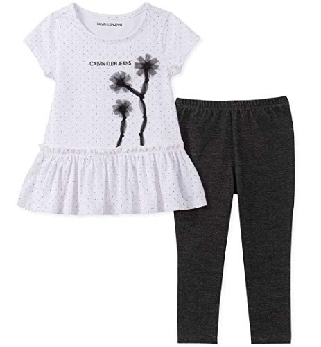 Calvin Klein Baby Girls 2 Pieces Legging Set Pants, White/Black, -