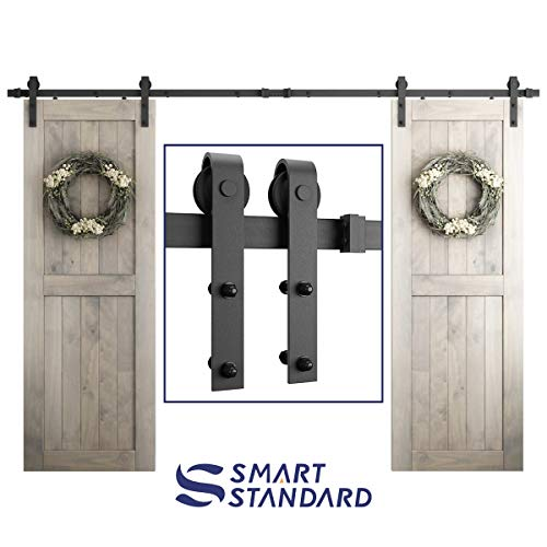 SMARTSTANDARD 10FT Heavy Duty Double Gate Sliding Barn Door Hardware Kit, Black, 10 Two Track Rail, Smoothly and Quietly, Simple and Easy to Install, Fit 30 DoorPanel (J Shape Hangers)