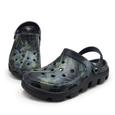 Los hombres sandalias zapatos agujero confort par zapatos casual de resorte de goma gris plana en blanco y negro,gris Black