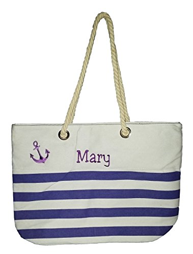 pe Anchor Accent Zipper Beach Bag Tote with Rope Handles (Personalized, Purple) (Custom Beach Bags)