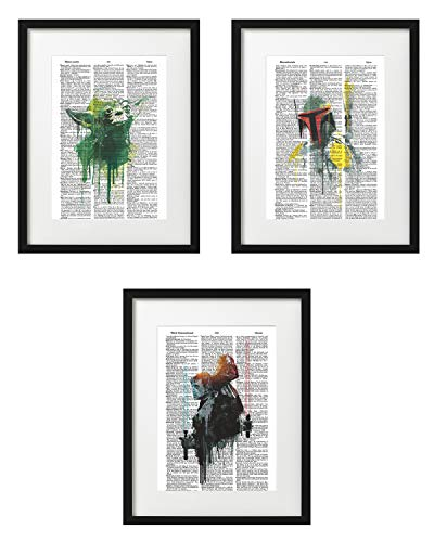 Signature Studios Star Wars Poster Yoda Boba Fett Luke Skywalker Darth Vader Set of (3) Watercolor Dictionary Art Prints 8x10
