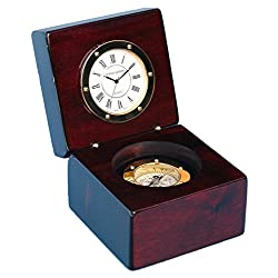 Stanley London Piano Finished Mahogany Desk Clock with Magnetic Compass