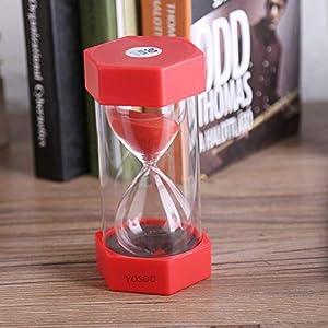 Cristal de Arena de Vidrio Reloj de Arena 3/10/20/30/60 Minutos Temporizador Reloj Decoración de la Oficina en Casa Regalo(30 Minutos Rojo) 3