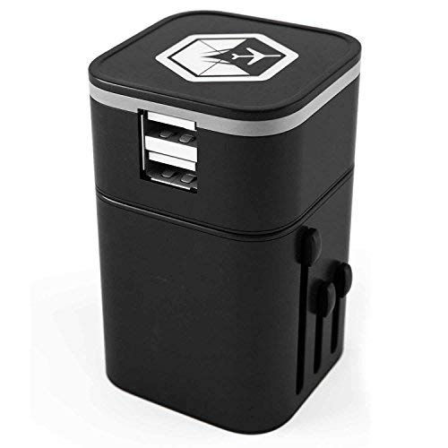 VENTURE 4TH Worldwide Travel Adapter Charger All in One Dual USB Charging Ports UK Europe - Black