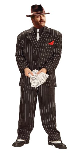 Forum Novelties Plus-Size Roaring 20's Extra Large Chicago Gangster Costume, Black, (Mens Mafia Costume)