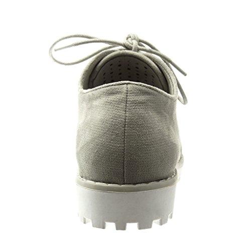 Angkorly - Chaussure Mode Derbies femme perforée tréssé Talon bloc 2.5 CM - Gris