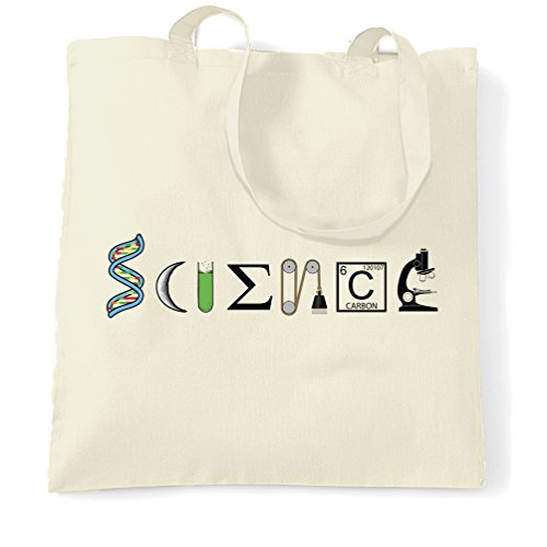 """The Word""""Science"""" Tote Bag Made From Scientific Things White One Size Natural"""