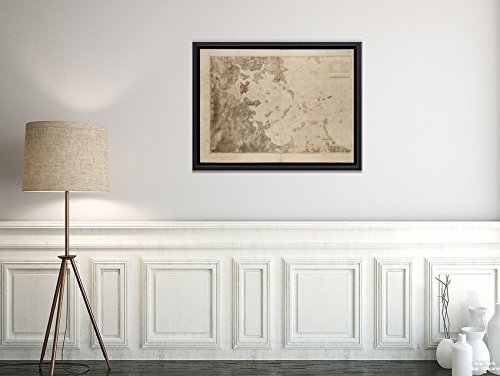 1775 Map|Boston Harbor|A Chart of The Harbour of Boston Title from published Bibliography. Relie|Vintage Fine Art Reproduction|Ready to Frame (Boston Harbor Chart)