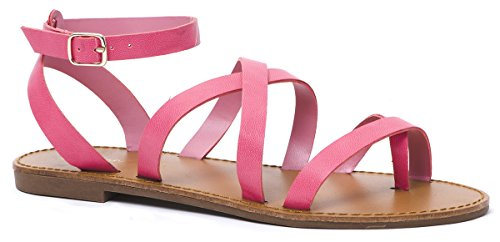 5 5 Sandals Open Summer LUSTHAVE Pink Toe Strap Strappy Flat Women's Ankle 6ZqvT