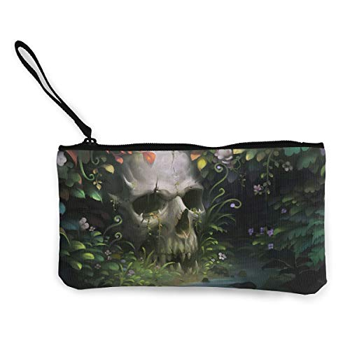 Oomato Canvas Coin Purse Skull Leaf Green Cosmetic Makeup Storage Wallet Clutch Purse Pencil Bag]()