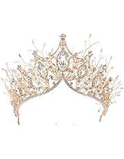 Handmade Crystal Crowns Tiaras Headband Gems Rhinestone Princess Headpiece Bridal Tiara Bride Hairwear Hair Accessories for Girl&Women Birthday Wedding Prom Bridal Christmas Music Festival Party,Gold