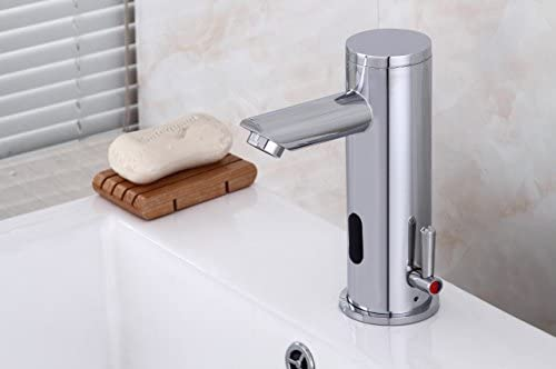 Fyeer Robinet de lavabo infrarouge enti/èrement automatique avec mitigeur /à levier unique pour lavabo cascade Robinet mitigeur de bain//douche Chrom/é Laiton chrom/é Tpy A Avec valve anti-retour