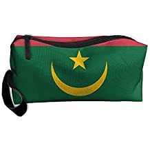 WEEDKEYCAT Flag Of Mauritania Travel Cosmetic Bag Pen Pencil Portable Toiletry Brush Storage,Multi-function Accessories Sewing Kit Bags Pouch Makeup Carry Case With Zipper
