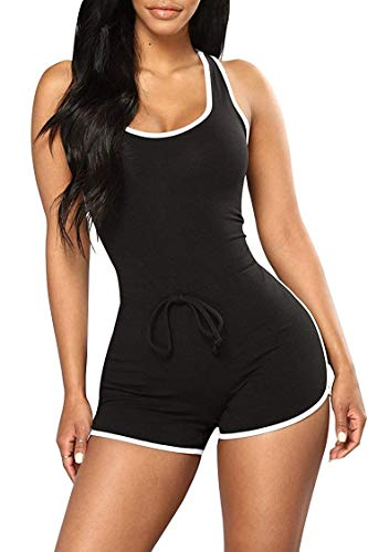 Black Racer Jumpsuit - Jescakoo Black Short Jumpsuit for Women Summer Rompers Drawstring Bodysuits L