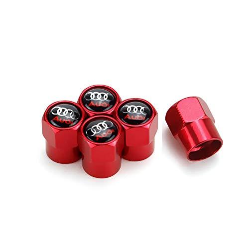 TK-KLZ 5Pcs Metal Car Wheel Tire Valve Stem Caps for Audi S Line S3 S4 S5 S6 S7 S8 A1 A3 RS3 A4 A5 A6 A7 RS7 A8 Q3 Q5 Q7 R8 TT Car Styling Decoration Accessories ()