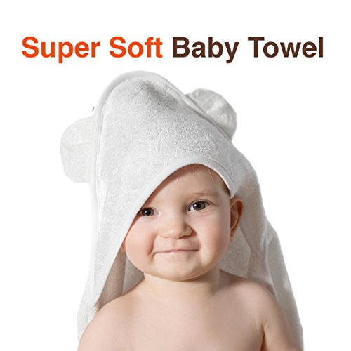 Organic Bamboo Baby Hooded Bath Towel and Washcloth with Bear Ears | Soft Great for Infant/Newborn/Toddler/Boy/Girl/Shower Present