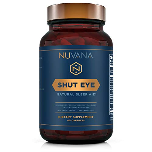 Sleep Aid | Natural Herbal Sleep Supplement Made with Valerian Root, Melatonin, Chamomile, Magnesium | Insomnia and Anxiety Relief | Adult Extra Strength Sleeping Pills | 60 Vegan Capsules | Shut Eye ()