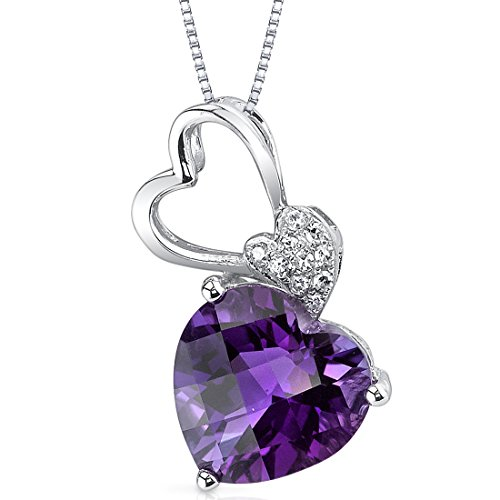 14 Karat White Gold Heart Shape 2.33 carats Amethyst Diamond Pendant