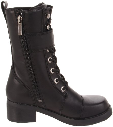 Women's Strap Harley Cut Black Buckle Mid Boot And Jammie 10