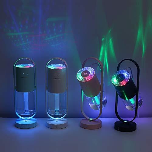 Homeet Mini Humidificador, Humidificador Portátil 200ml Humidificadores de Niebla USB Humidificador Ultrasónico Aire de Vapor Silencioso Rotación de 360° con LED de 7 Colores para Coche Mesa,【DC 5V】