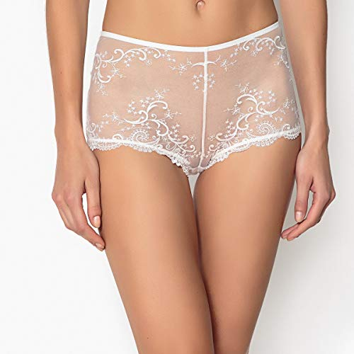 La Redoute Collections Womens Embroidered Tulle Briefs White Size US 10