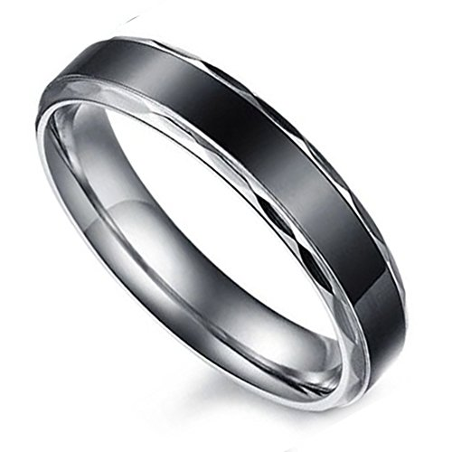 Flongo Black Vintage Love Hers Stainless Steel Wedding Engagement Promise Eternity Bands Ring, Size 6