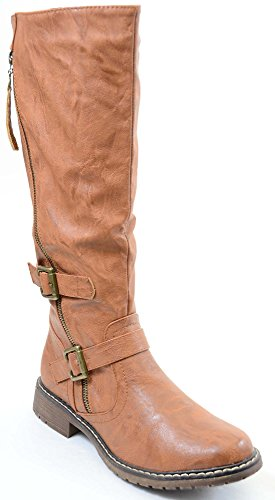 Womens Flat Pirate Boots (Tan Riding Double Ankle Strap Knee-high Women's Vegan Biker Boots)