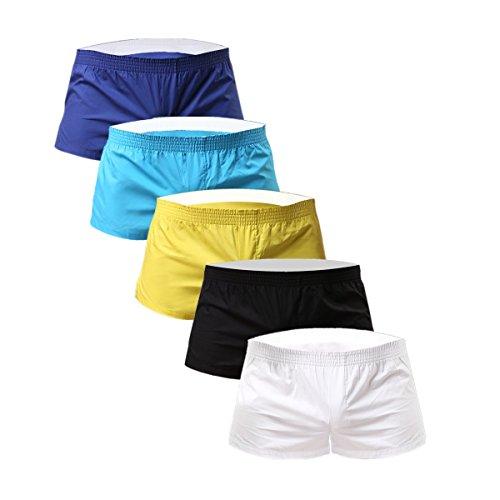 Boxer Mens Rise Low Short (NECOA Men's Solid Color Cotton Low Rise Boxer Shorts (S, Multicolor))