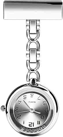 CeseMall Nurse Watch Paramedic Doctor Pocket Watches Flow Diamond Quartz Lapel Pin Clip-on Hanging Medical Brooch Fob Watch (Silver)