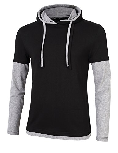 Casual Contrast Weight Pullover Hoodies