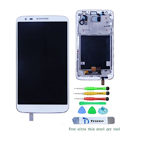 [Teseko LCD Display Touch Digitizer Screen for LG G2 D800 D801with Frame Assembly White Replacement Part with DIY Tools] (G2 Replacement)