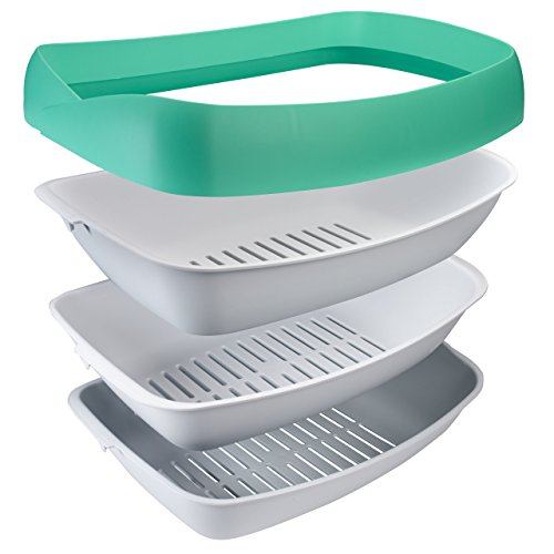 Luuup Litter Box - 3 Sifting Tray Cat Litter Box is Antimicrobial and Easy to Clean with Non-Stick Coating - Stylish, High-Sided Design with Spill Guard (15.4