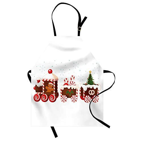 Ambesonne Christmas Apron - Gingerbread Train - Unisex