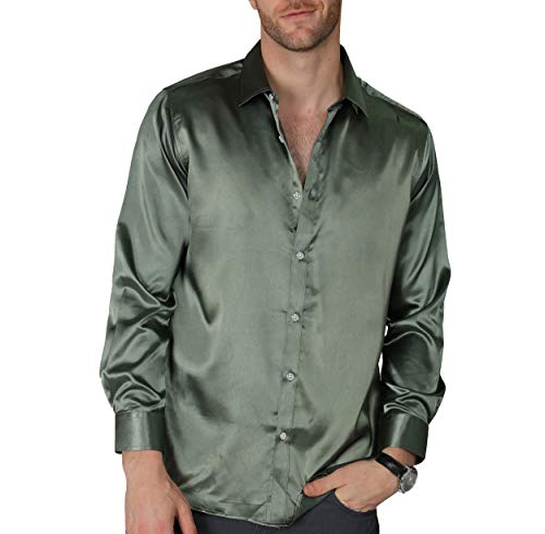 (VICALLED Men's Satin Luxury Dress Shirt Slim Fit Silk Casual Dance Party Long Sleeve Fitted Wrinkle Free Tuxedo Shirts (Army Green, XS) )