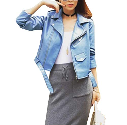 Blue Mogogo Biker Jacket PU Women's Trench Zipper Outwear Closure Mini Coat vgwCxqvA7