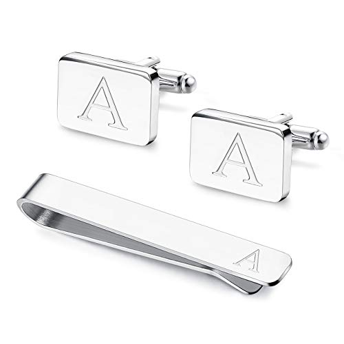 Udalyn Engraved Initial Cufflinks and Tie Clips Set for Men Wedding Business Jewelry Alphabet A-Z ()