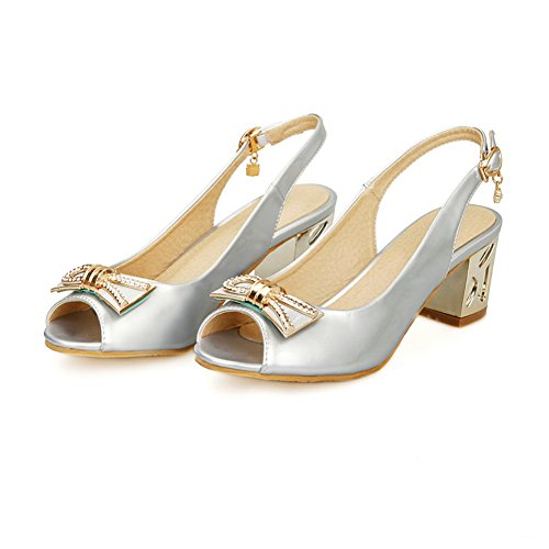1TO9 Womens Metal Bowknot Studded Rhinestones Metal Buckles Soft Material Sandals Silver CmeUU