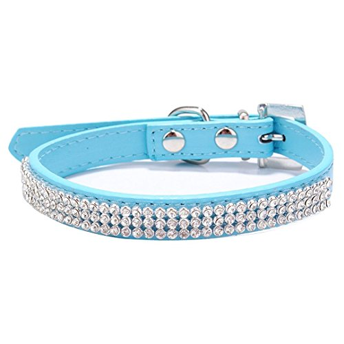 Neonr 3 Rows Bling Rhinestone Heart Studded PU Leather and Crystal Diamond Puppy Collar for Pet Dog Cat Collar.(Blue)